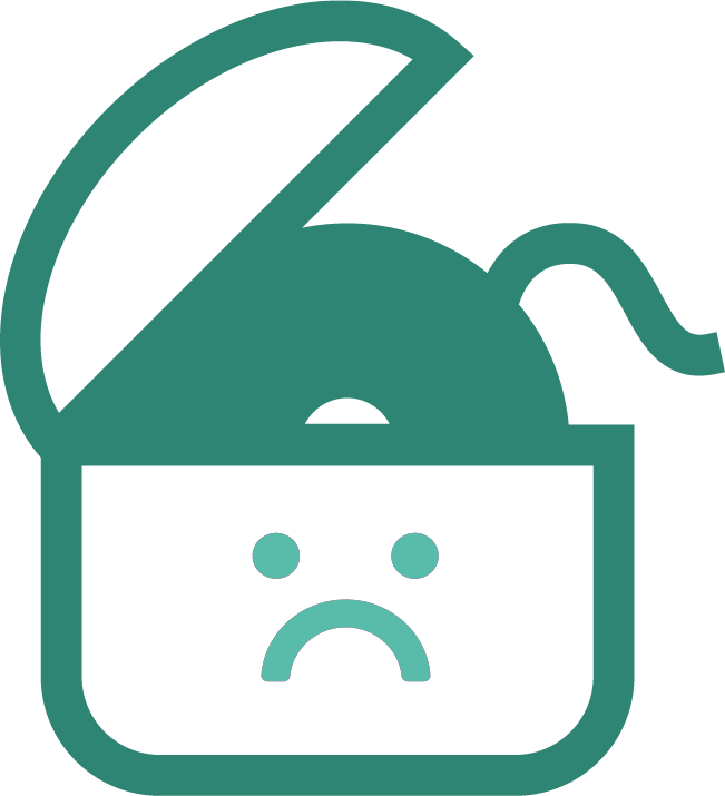 Green dental floss icon with sad face