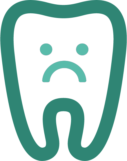 Green tooth icon with sad face
