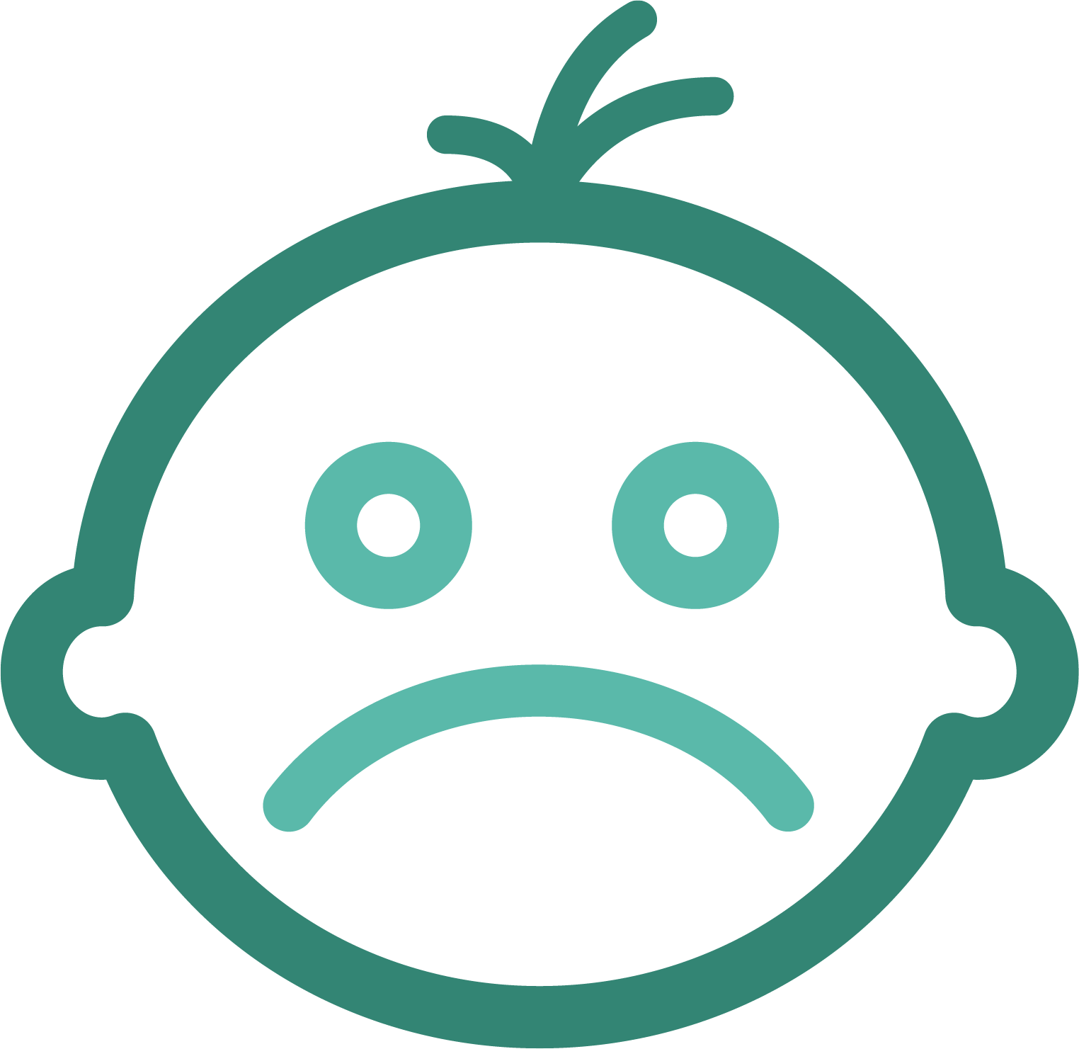 Green sad face icon