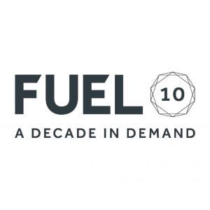 Fuel Communications logo grey with slogan A decade in demand